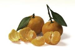 Mandarinas con las hojas Imágenes de archivo libres de regalías