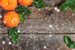 Mandarinas con las hojas en fondo de madera Fotos de archivo libres de regalías