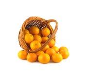 Mandarinas derramadas de endechas de la cesta de mimbre aisladas Fotos de archivo