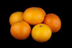 Mandarinas en fondo negro Fotografía de archivo