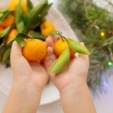 Mandarinas en manos del ` s de los niños en una placa blanca fotografía de archivo libre de regalías