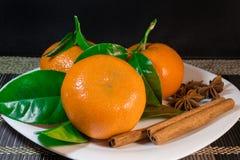 Mandarinas en una placa Fotografía de archivo libre de regalías