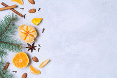 Mandarinas, especias y árbol de pino: composición del invierno Fotografía de archivo libre de regalías