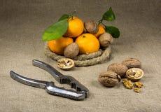 Mandarinas, nueces y un cascanueces Imagenes de archivo