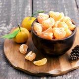 Mandarinas peladas frescas Foto de archivo