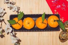 Mandarinas y Año Nuevo lunar con el texto Imagenes de archivo