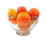 Mandarinas y limón de las naranjas Fotografía de archivo