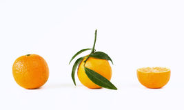 Mandarine. With leafs on white background stock photography
