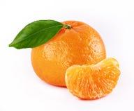 Mandarine. With slice and leaf isolated white background stock image