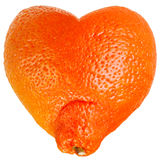 Mandarine as a heart royalty free stock photos