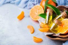 Mandarine essentielle organique, mandarine, huile de clémentine Image libre de droits