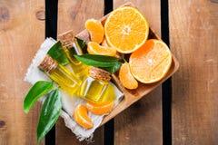 Mandarine essentielle organique, mandarine, huile de clémentine Images libres de droits