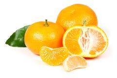 Mandarine fraîche avec des lames Image libre de droits