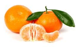 Mandarine fraîche avec des lames Photo libre de droits