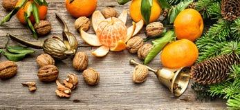 Mandarine fruits, walnuts and christmas tree branches Stock Photos