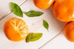 Mandarine with a leaf on grey wood. Group of four whole fresh orange mandarine with green leaves one fruit is half peeled flatlay on white wood royalty free stock images