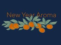 Mandarine lumineuse de Noël sur le fond de bleu de nuit illustration de vecteur