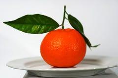 Mandarine mit drei Blättern fotografiert Lizenzfreies Stockfoto
