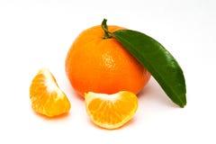 Mandarine mit grünem Blatt Lizenzfreie Stockbilder
