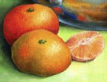 Mandarine mit zwei Rottönen und Tangerine abgezogenes Teil Stockbilder