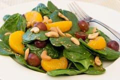 Mandarine Oragne Spinat-Salat Lizenzfreie Stockfotos