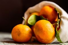 Mandarine sinaasappel of mandarijn op houten raad Royalty-vrije Stock Foto