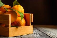 Mandarine sinaasappel of mandarijn op houten raad Royalty-vrije Stock Afbeeldingen