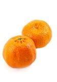 Mandarine twee op het wit Royalty-vrije Stock Afbeelding