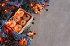 Mandarine, une écharpe chaude et lumières de Noël contre la toile grise Photos stock