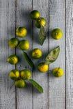 Mandarinen auf einem blauen Hintergrund Lizenzfreie Stockbilder