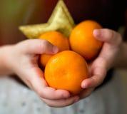 Mandarinen in den Händen der Mädchen Lizenzfreies Stockfoto