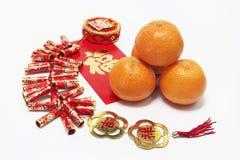 Mandarinen und Kracher Lizenzfreies Stockbild