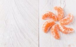 Mandarinenscheiben Stockfoto