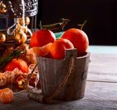 Mandariner i korgen Metallbur Arkivbild