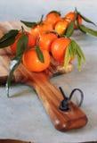 Mandarines avec les lames vertes Photo stock