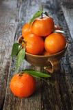 Mandarines avec les lames vertes Photos libres de droits