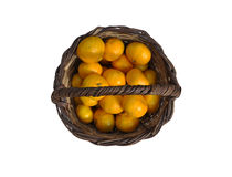 Mandarines in a basket. Close up view of some mandarines in a basket stock photos