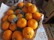 Mandarines bij de vooravond van Nieuwjaar stock afbeelding