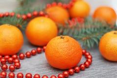Mandarines, brunchs d'arbre de sapin, cônes de pin et perles rouges Décorations de nourriture de Noël Photographie stock libre de droits