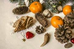 Mandarines, coeurs de chocolat, pâtisseries, cônes et écrous Image stock