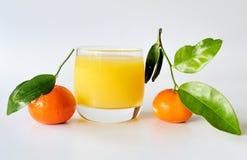 Mandarines con el vidrio de jugo Foto de archivo libre de regalías