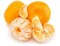 Mandarines d'isolement sur le fond blanc Photos stock