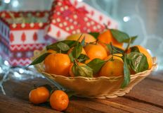 Mandarines dans le temps de Noël image libre de droits