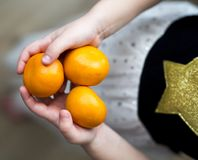 Mandarines dans les mains des filles Photographie stock libre de droits