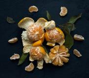 Mandarines de plat noir Image stock