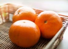 Mandarines de un par en cierre de la cesta de mimbre para arriba, escena brillante Fotografía de archivo libre de regalías