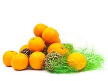 Mandarines decoration with green and golden Stock Image