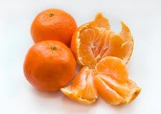 Mandarines en el fondo blanco Imagen de archivo libre de regalías
