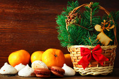 Mandarines en la composición de la Navidad Fotografía de archivo libre de regalías