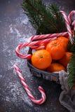 Mandarines et canne de sucrerie Fond de Noël Photographie stock